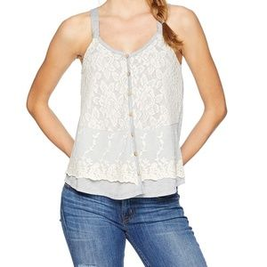 NWT~ JOLT Gray/ Ivory Floral Lace Tank
